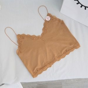 NWT tan seamless lace trimmed cropped cami